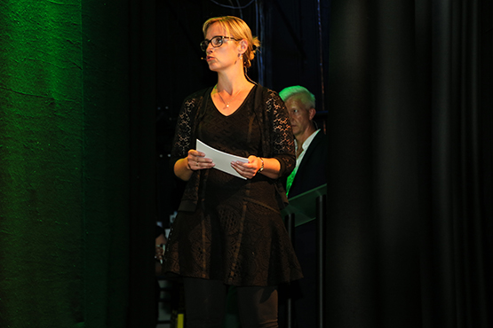 Woman speech on the stage